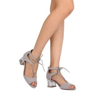 Gray strap sandals